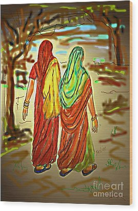 Two Women Wood Print by Desline Vitto