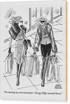Two Women Dressed Nicely Walk Together Carrying Wood Print by Marisa Acocella Marchetto