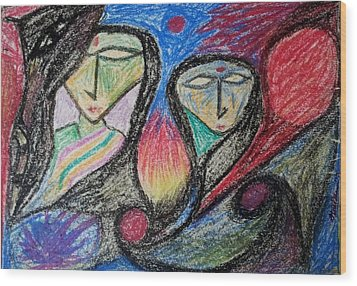 Two Women Wood Print by Hari Om Prakash