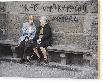 Two Women In Naples Wood Print by Jim  Calarese