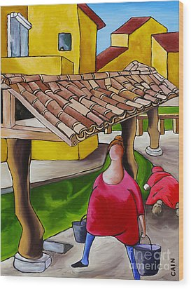 Two Women Under Tile Roof Wood Print by William Cain