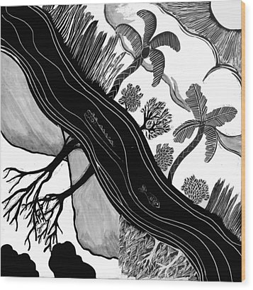 Wood Print featuring the drawing Two Worlds by Aurora Levins Morales