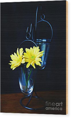 Two Yellow Daisies Wood Print by Kerri Mortenson