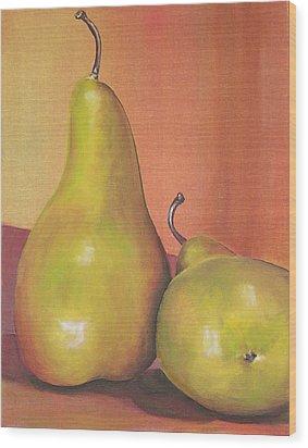 Two Yellow Pears Blenda Studio Wood Print by Blenda Studio