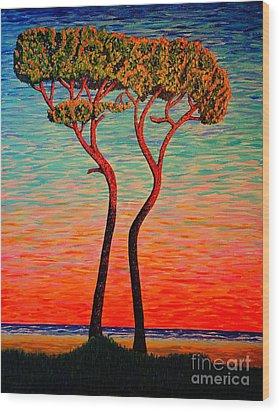 Two.sunrise. Wood Print by Viktor Lazarev