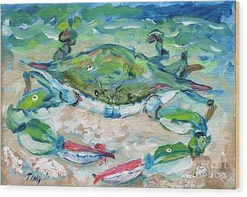 Tybee Blue Crab Mini Series Wood Print by Doris Blessington
