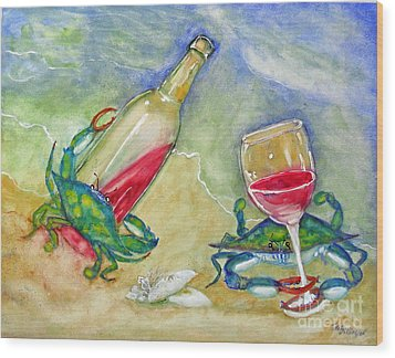 Tybee Blue Crabs Tipsy Wood Print by Doris Blessington
