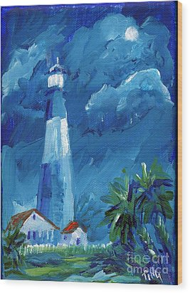 Wood Print featuring the painting Tybee Lighthouse Night Mini by Doris Blessington