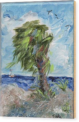 Wood Print featuring the painting Tybee Palm Mini Series 1 by Doris Blessington