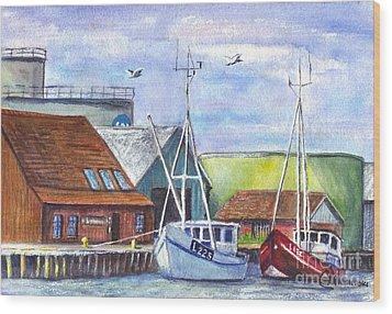 Tyboron Harbour In Denmark Wood Print by Carol Wisniewski