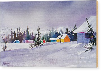 Wood Print featuring the painting Tyonek Village Impression by Teresa Ascone