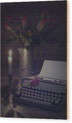 Typewriter By Candlelight Wood Print by Amanda Elwell