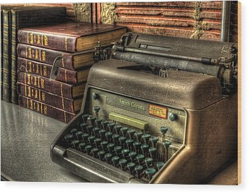 Typewriter Wood Print by David Morefield