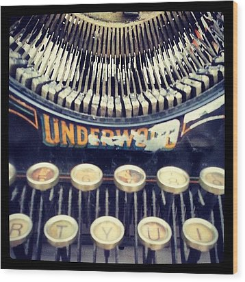 #typewriter #steampunk #writing Wood Print by Devin Muylle