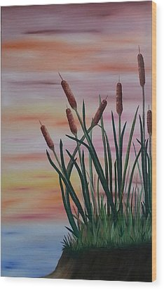 Typha Wood Print