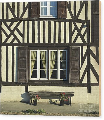 Typical House  Half-timbered In Normandy. France. Europe Wood Print by Bernard Jaubert