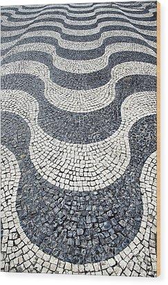 Typical Portuguese Handmade Cobblestone Pavement Wood Print by Jose Elias - Sofia Pereira
