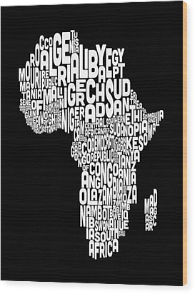 Typography Map Of Africa Map Wood Print by Michael Tompsett