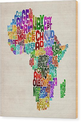 Typography Map Of Africa Wood Print by Michael Tompsett