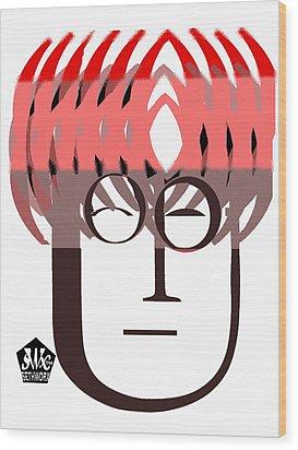 Typortraiture John Lennon Wood Print by Seth Weaver