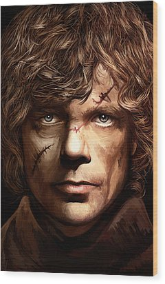 Wood Print featuring the painting Tyrion Lannister - Peter Dinklage Game Of Thrones Artwork 2 by Sheraz A