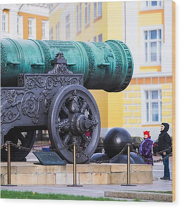 Tzar Cannon Of Moscow Kremlin - Square Wood Print by Alexander Senin