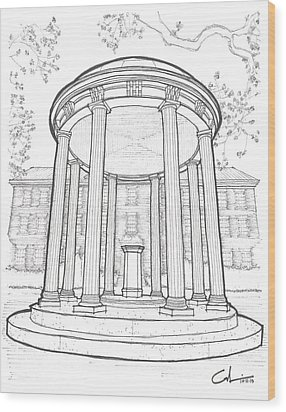 U N C Old Well Wood Print by Calvin Durham