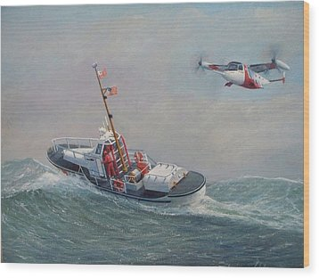 U. S. Coast Guard 44ft Motor Lifeboat And Tilt-motor Aircraft  Wood Print by William H RaVell III