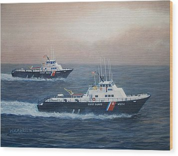 U. S. Coast Guard Surface Effects Ships Sea Sea Hawk And Shearwater  Wood Print by William H RaVell III