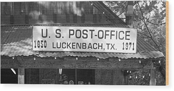 U S Post Office Luckenbach Texas Sign Bw Wood Print by Elizabeth Sullivan