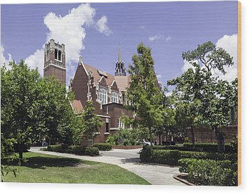 Uf University Auditorium And Century Tower Wood Print by Lynn Palmer