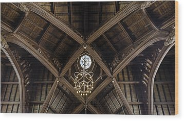 Uf University Auditorium Vaulted Wooden Arches Wood Print by Lynn Palmer