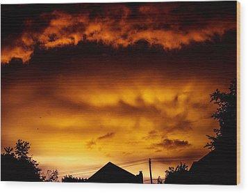 Ufo Tornado Wood Print