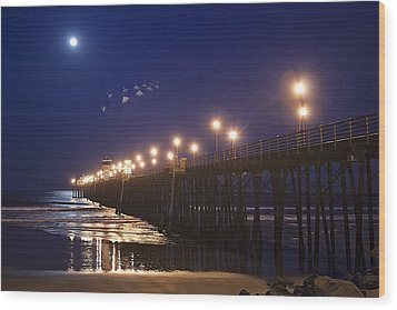 Ufo's Over Oceanside Pier Wood Print by Ann Patterson