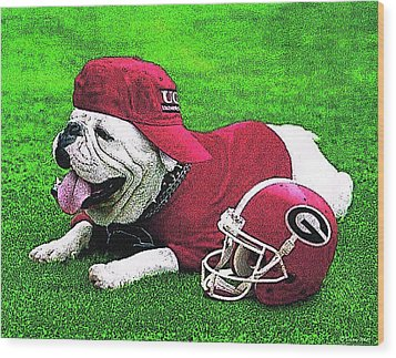 Uga With Helmet T-shirt Wood Print by Herb Strobino