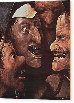 Wood Print featuring the digital art Ugly Faces by Hieronymus Bosch