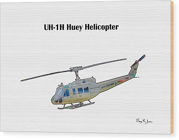 Uh-ih Huey Helicopter Wood Print by Barry Jones