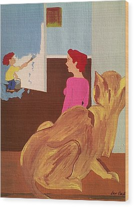 Uh Oh Wood Print by Lew Griffin