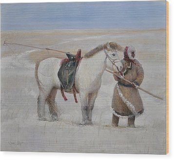 Ujumchin Herdsmen In Winter Pastures Wood Print by Ji-qun Chen