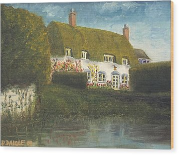 Wood Print featuring the painting Uk Cottage by Diane Daigle