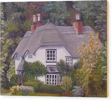 Wood Print featuring the painting Uk Thatched Cottage by Diane Daigle