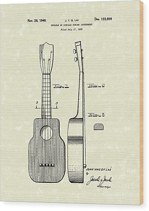 Ukelele 1940 Patent Art Wood Print by Prior Art Design