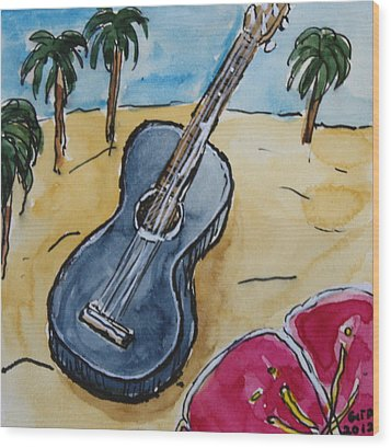Ukulele At The Beach Wood Print