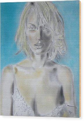 Uma Thurman Portrait Wood Print