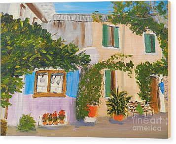 Wood Print featuring the painting Umbera Courtyard by Pamela  Meredith