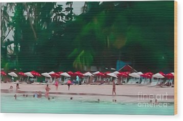 Umbrella Beach Wood Print by Perry Webster