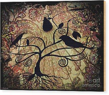 Umbrella Birds Wood Print by Christy Ricafrente