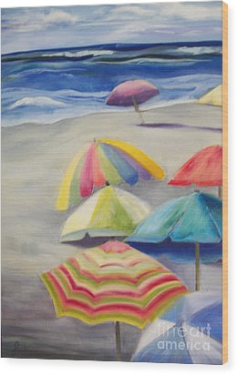 Umbrella Day Wood Print