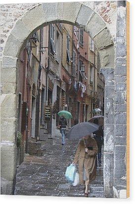 Umbrella Day Portovenere Italy Wood Print by Sally Ross