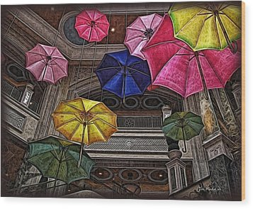 Umbrella Fun Wood Print by Joan  Minchak
